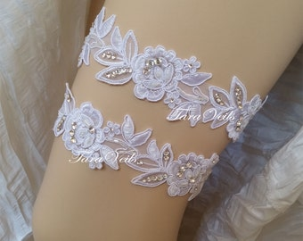 Wedding White Lace Elastic Ruffled bridal garter Rhinestone Garter wedding garters bridal garter Floral lace garter Keepsake Toss Garter Set