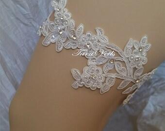 wedding garter, Bridal garter set , Off White Garter, wedding garters, bridal garter, Floral lace garter, Vintage Garter,Single Garter