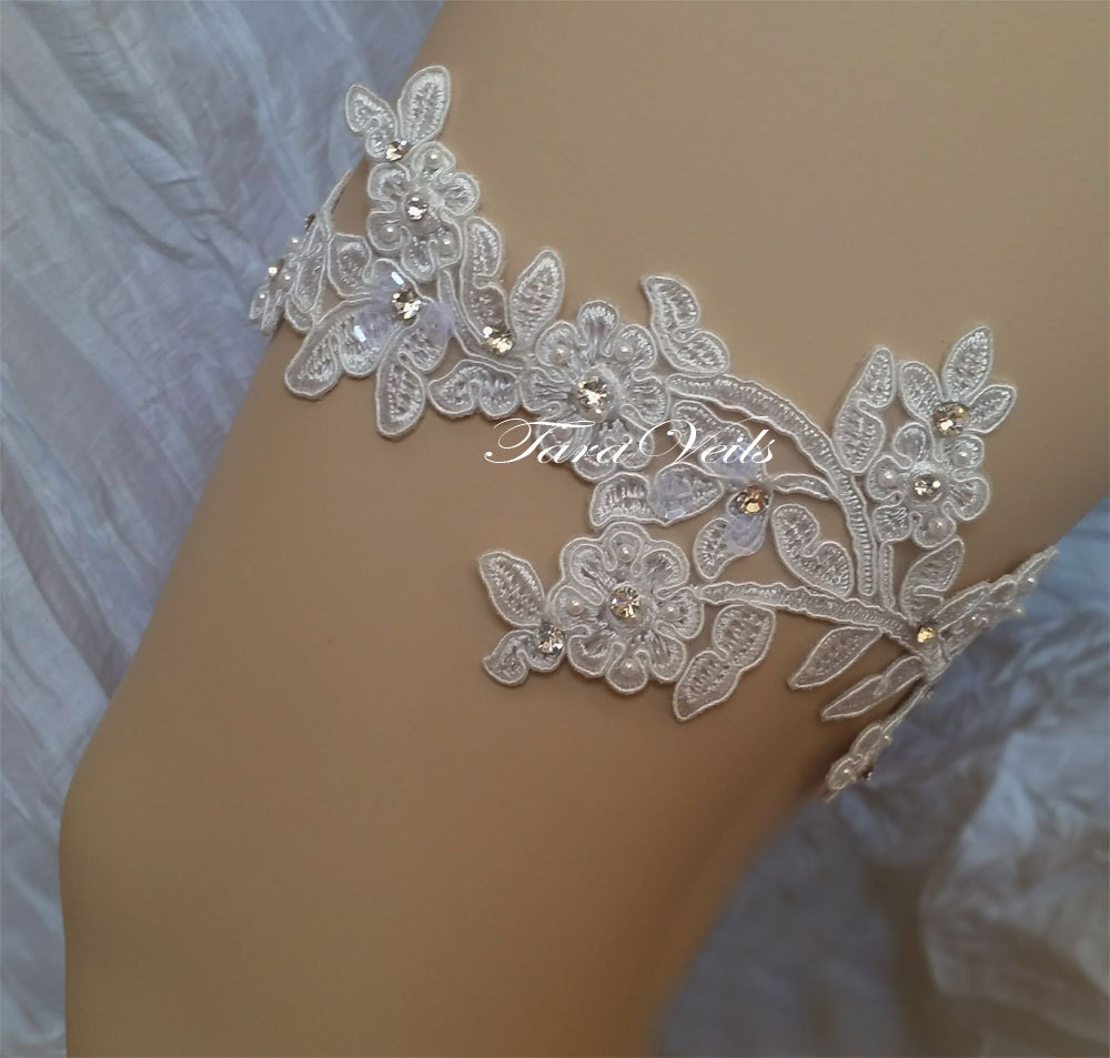Wedding Garter Bridal Garter Set Off White Garter Wedding