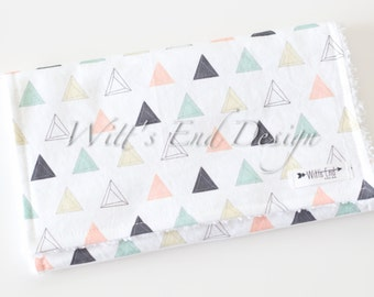 Modern Gender Neutral Burp Cloth MIX & MATCH-Super Absorbent Cotton Chenille-Prism Triangles