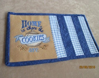 Home is Where the Cookies Are mug rug, Celebrate HOME, reversible mug rug, milk, cookies, cookie lovers gift, candle mat, snack mat,