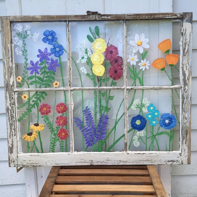 Flower art art painted window vintage antique hand painted for Painting on glass windows with acrylics