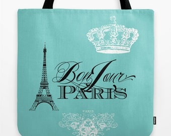 Paris Tote Bag in Teal , Travel tote, Bon Jour,  typography, France travel  beautiful, mom, gift, allover print accessories
