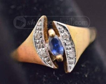 Vintage 10k Gold Sapphire and Diamond Marquise Ring Size 6