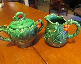 Lefton Berries and Vines China Sugar Bowl and Creamer
