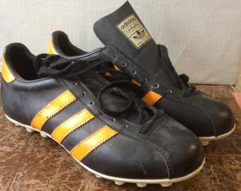 "Vintage 70's Dead Stock Adidas ""La Plata""  Fifa  men's sport shoes black leather with orange stripes made in France"