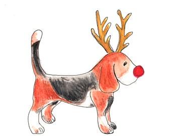 Dog beagle reindeer christmas card , from original watercolour artwork - christmas card, animal card