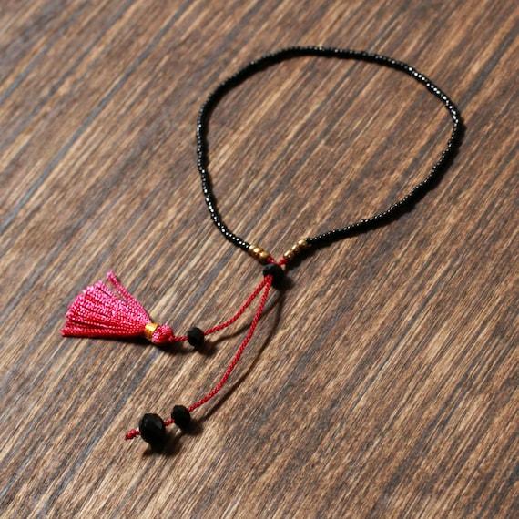 Burgundy Beaded Tassel Bracelet | Bali