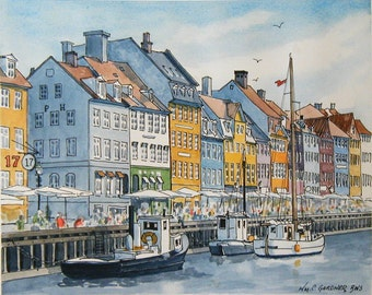 Copenhagen, Denmark -   Nyhavn Canal Signed & Numbered Limited edition watercolor print, art, painting, travel, Europe