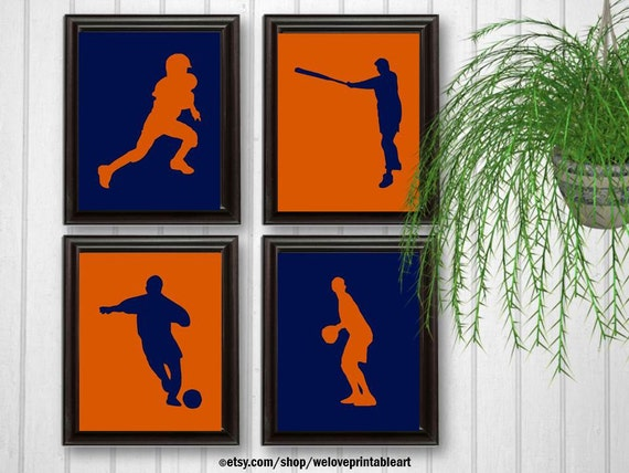 Boys Room Decor Sports Wall Art Football Baseball Soccer