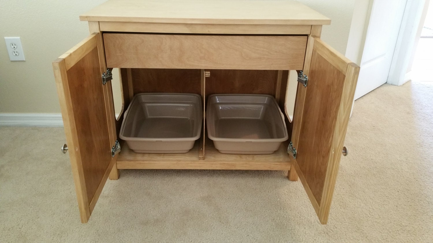 Odor free double cat litter box cabinet bathroom w drawer made in usa flat pack wood no Bathroom cabinets made in usa