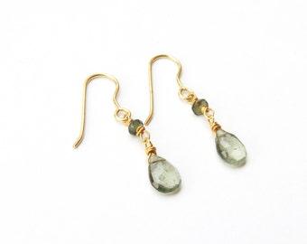 Mossy Quarzt briolettes earrings