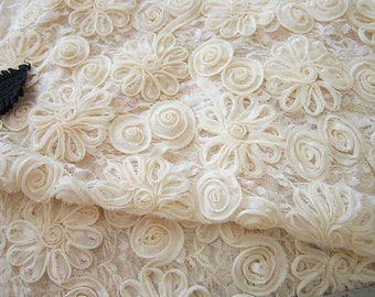 "Lace Fabric 3D Ivory Chiffon Rose Wedding Grown Fabric 49.2"" width 1 yard"