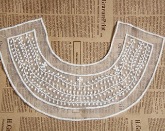 1pc Lace Collar Applique White Gauze Cotton EmbroideryClothing Embellishing Embroidered
