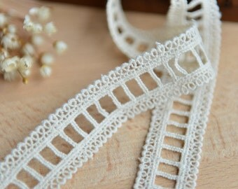"3 Yards Lace Trim off-white Cotton Lace Wedding 0.98"" whidth"