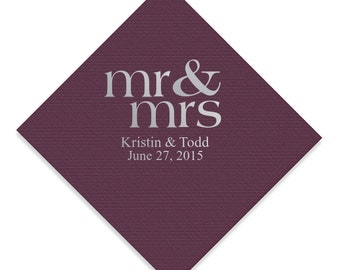 100 Personalized Napkins LINEN QUALITY Beverage Guest Towel & Dinner Size Available Mr and Mrs Napkins Custom Printed Monogram Eggplant Plum