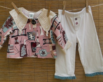 Size 12 Months Infant Coat & Pants Set - Baby 12 Months Retro Tiki Barkcloth Baby Outfit - 12 Months Girl Girls Cute Jacket Pants Outfit