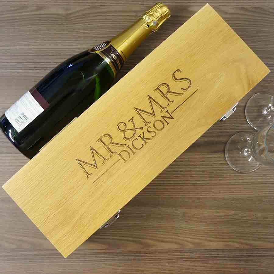 Personalised Wedding Gifts Wine : Personalised Wedding Gift Wine Box Mr & Mrs wedding gift.