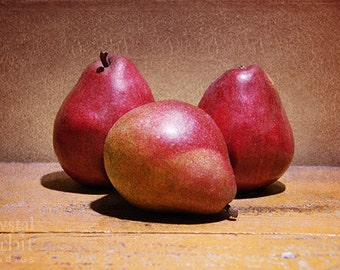 Pear Still Life Artwork, Kitchen Wall Art, Fruit Photo, Red, Brown, Gold, Warm Colors, Home Decor