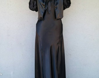 Vintage 1930s 30s black satin dress with matching bolero jacket formal