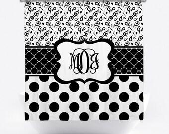 Monogrammed Shower Curtain - Black and White Personalized Shower Curtain - Custom Shower Curtain with Monogram - Bath Decor
