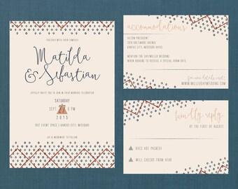 Whimsical Boho Pattern Wedding Suite // DIY PRINTABLE Invite + RSVP // Whimsical Wedding, Boho Wedding, Boho Invitation