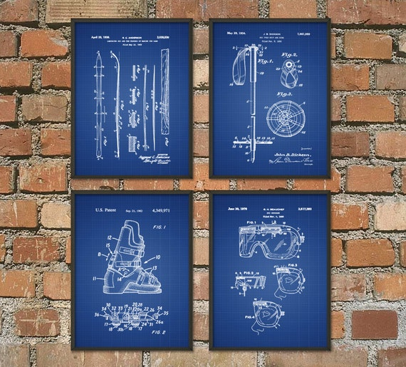Skiing patent wall art poster set of 4 skiing by quantumprints for Ski decorations for home
