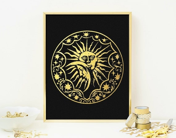 Gold Star Wall Decor: Gold Sun And Moon Wall Art Print Moon Of My Life By