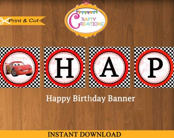 Disney Cars Birthday Banner - Disney Banner - Decoration -  Cars Party Supplies - McQueen - Printable - INSTANT DOWNLOAD -CraftyCreationsUAE