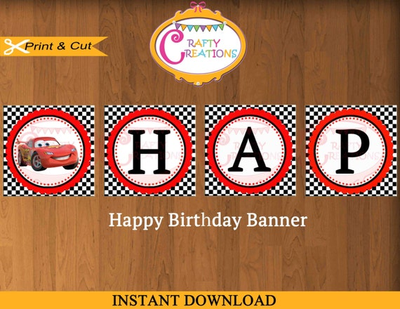 Disney Cars Birthday Banner - Disney Banner - Decoration - Cars Party ...