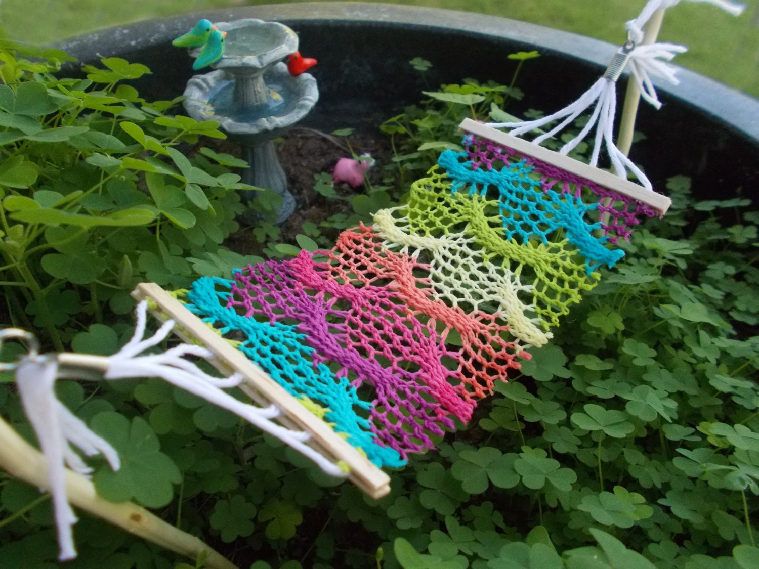 Gnome Garden: Bohemian Fairy Garden Hammock Crocheted Fabric Miniature Fairy