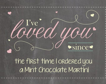 I've Loved You Since... Chalkboard-Personalized-Print-Card