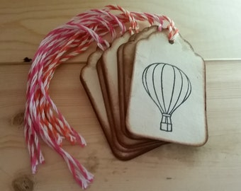 Distressed Hot Air Balloon Stamped Tags - Pink and Orange (Set of 8)