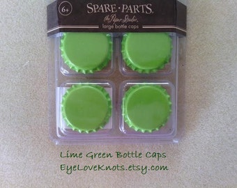 DESTASH! Set of 6 - Lime Green Bottle Caps - Large Bottle Caps - RTS! Ready to Ship!