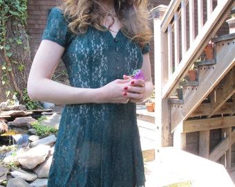vintage 1990s green lace dress - size 4