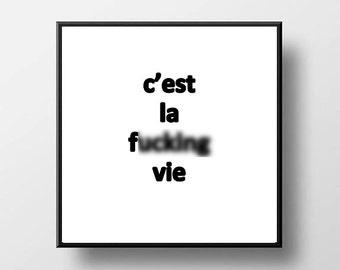 Quote Print and/or Frame - C'est la F* Vie