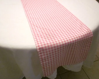 Pink and White Gingham Table Runner, Western party,Wedding, Bridal Shower, Baby Shower, Cowboy Party