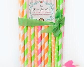 Neon Paper Straws *NEON Straws -Paper Straws *Neon Pink *Neon Green *Neon Orange *Neon Party Decor - Birthday or Weddings *PINK -Tween Party