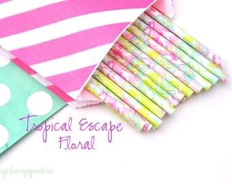 LILLY PULITZER -Mint straws -Hot pink straws -Straws, MINT *Paper Straws, Wedding *Birthday *Party Supplies *Lime Green *Pink *Flamingo