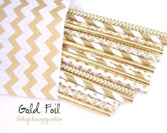 Gold Straws - Gold Foil Straws / Paper Straws / GOLD Wedding decor - Gold party - Metallic Gold Straws / mason jar buffet table / Rustic