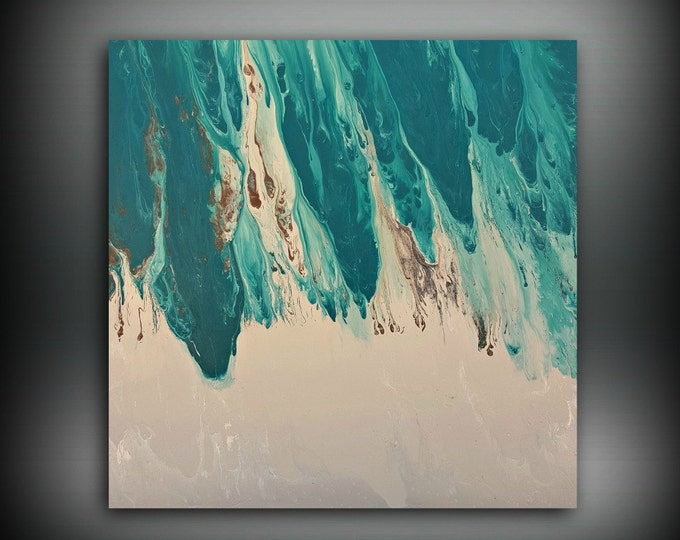 ORIGINAL Painting Art Painting Acrylic Painting Abstract Painting Teal Wall  Hanging Extra Large Wall Art XL