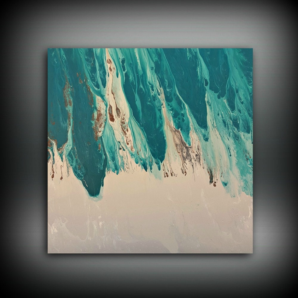original painting art painting acrylic painting abstract painting teal wall hanging extra large. Black Bedroom Furniture Sets. Home Design Ideas