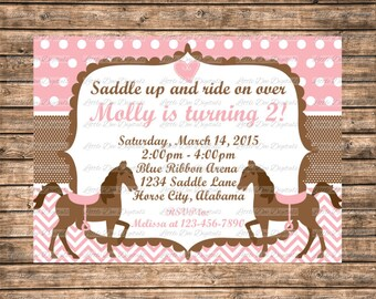 Personalized Pink and Brown Horse Themed Birthday Party Invitations 5x7 or 4x6 - Printable Digital File