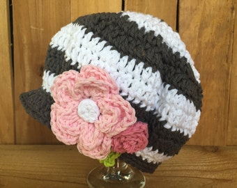 Girls crocheted newsboy, flowered spring hat, girl's gift, baby gift, spring hat, baby accessory