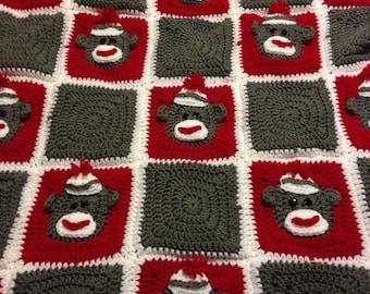 Crochet Sock monkey blanket,  Afghan,  throw,  bedding, baby,  toddler,  red,  white,  grey,  winter,  warm,  Christmas