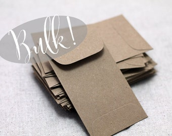 "BULK! 100 Mini Kraft Envelopes - Recycled Kraft Seed Envelopes - 2 1/4"" x 3 3/4"") - Business Card - Brown Paper Bag Envelopes - Kraft Coin"