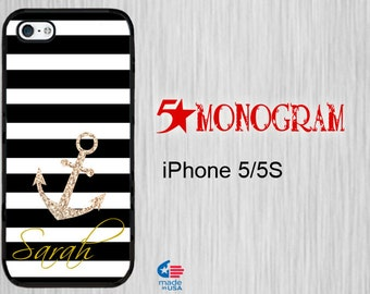 iPhone 5S Monogram iPhone 5S iPhone 5 Monogram Personalized iPhone 5s  monogram iPhone 5S Personalized iPhone 5s  Stripe with Sparkle Anchor