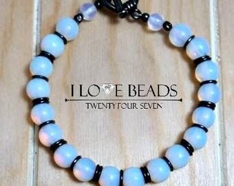 Opalite bracelet-opalite moonstone bracelet-antique silver bracelets-gunmetal bracelet-opal bracelet-beaded opalite bracelet-gifts for her