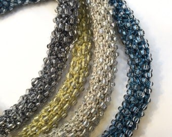"Hand knit beaded ""tube"" necklace"