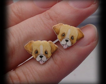 Adorable Boxer dog stud earrings. Shrink plastic. Can be customized.